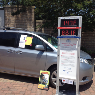 Outdoor heatstroke prevention display, with the in-and-out-of car temperature monitors
